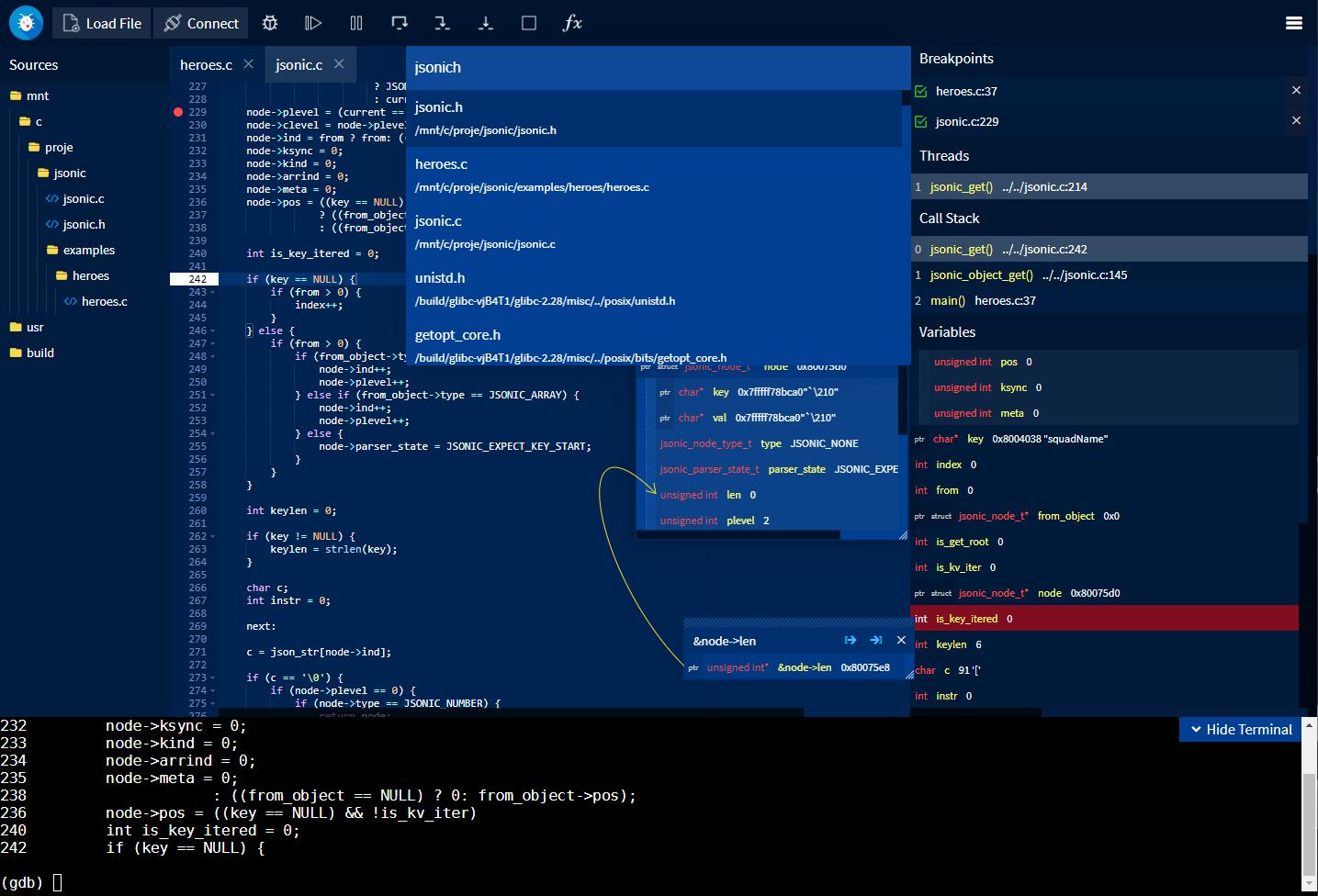 GDBFrontend Screenshot